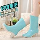 高跟雨鞋女中筒高跟雨鞋成人雨靴韓版時尚套鞋防水女士加厚防滑水鞋耐磨膠鞋 快速出貨