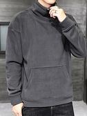 半高領連帽T恤男士新款秋季韓版潮流秋裝加絨厚款外套秋冬上衣服 易家樂