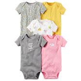 美國Carter's卡特童裝 女寶寶 短袖純棉活肩包屁衣 五件組 粉點點【CA126G827】