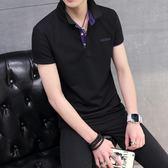 夏天男裝短袖翻領T恤修身韓版學生有領上衣t桖半袖休閒Polo衫『潮流世家』