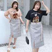 中大尺碼~格子印花半身裙個性上衣T恤套裝(XL~4XL)