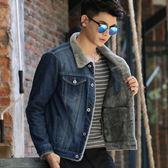 秋冬季青少年男士牛仔外套男加絨加厚夾克上衣學生韓版修身棉衣褂