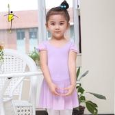 兒童芭蕾舞練功服少兒紗裙連體服舞蹈短袖體操服芭蕾舞裙形體服