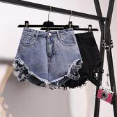 牛仔短褲女夏季寬松破洞高腰顯瘦毛邊A字闊腿熱褲【韓衣舍】
