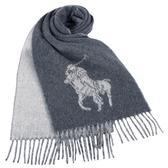 POLO RALPH LAUREN經典馬球大圖紋羊毛圍巾(灰色)780913-1