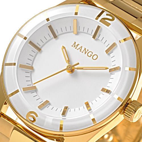 MANGO 細緻美學時尚腕錶-白x金/33mm