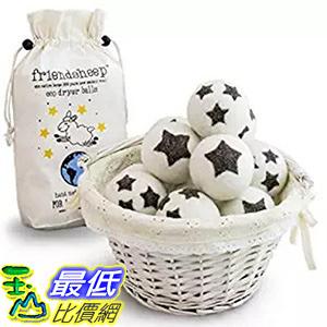 [106美國直購] Friendsheep Stars Galore 烘衣柔軟球星星 Organic Eco Wool Dryer Balls 6 Pack