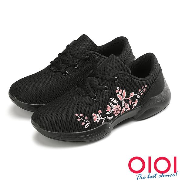 休閒鞋 花朵綻放刺繡飛織綁帶休閒鞋(黑) * 0101shoes 【18-2062bk】【現貨】