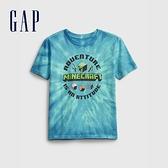 Gap男童 時尚印花圓領短袖T恤 664543-藍綠色紮染