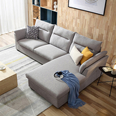 林氏木業簡約現代側邊儲物左L三人布沙發(附抱枕)S016-淺灰色