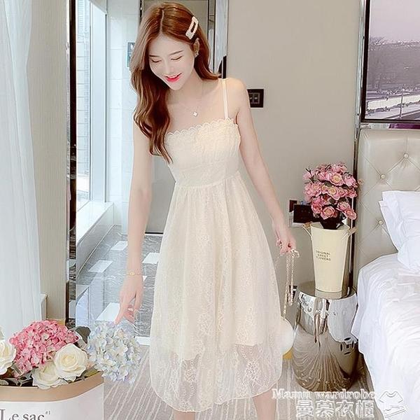 吊帶洋裝 夏季一字肩吊帶連身裙女性感夏裝2021年新款長款小個子仙女長裙子 新品
