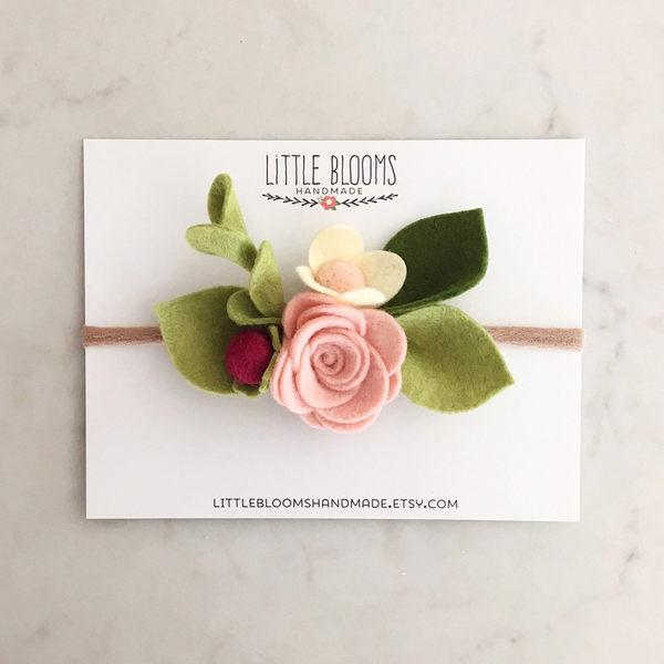 手工髮帶 Little Blooms 毛氈粉色玫瑰+紫色莓果+綠葉髮帶 Felt Bloom Headband