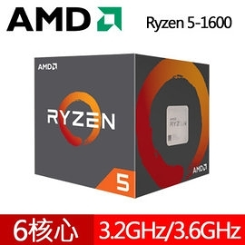 AMD 超微 RYZEN R5-1600 CPU AM4 腳位 (全新盒裝,附散熱器,無內顯)