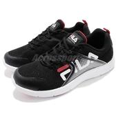 FILA 慢跑鞋 J026S 黑 白 休閒鞋 透氣網布 運動鞋 基本款 男鞋【PUMP306】 4J026S001