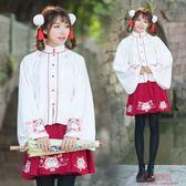 改良漢服古風漢元素日常刺繡喇叭袖上襖短裙套女 快速出貨