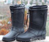 包郵時尚冬季新款時尚仿皮男式雨鞋高筒加絨保暖雨靴機車水鞋套鞋 依凡卡時尚