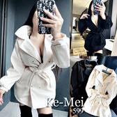 克妹Ke-Mei【AT70962】SLY經典名媛雙排釦立領腰帶毛尼長大衣外套