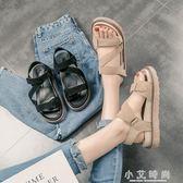 平底女鞋厚底羅馬女士涼鞋魔術貼百搭鬆糕鞋學生 小艾時尚