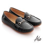 A.S.O 頂級氣墊 全真皮鏡面莫卡辛平底鞋 黑