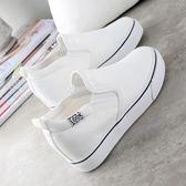 帆布小白鞋 韓版內增高休閒懶人單鞋 米蘭shoe