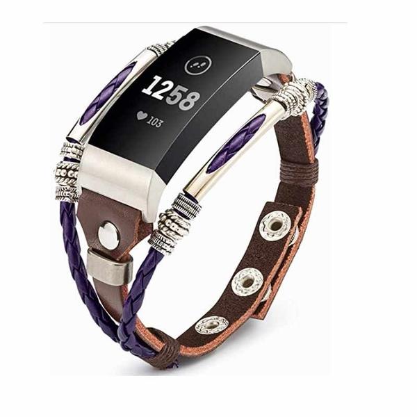 手工皮革錶帶  尺寸可調 適用Fitbit Charge 4 / Charge 3 / SE B07JKCK6WK [2美國直購]