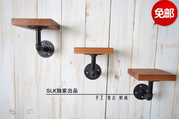 [超豐國際]水管置物架一字隔板水管書架美式鄉村工業置物架松木