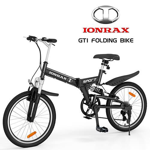 IONRAX GT1 FOLDING BIKE 前後避震 6段變速 折疊腳踏車 黑色