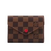 【LV】Damier VICTORINE棋盤格三折短夾(紅色) N41659