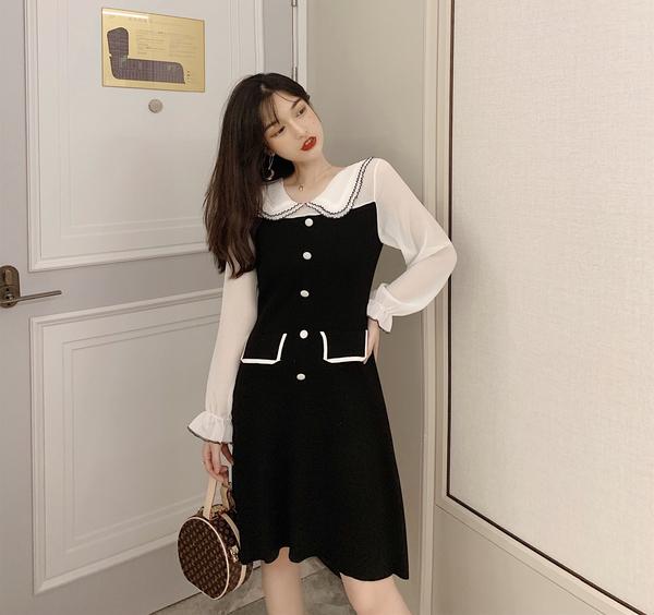 VK旗艦店 韓國風娃娃領裙單排扣網紗拼色長袖洋裝