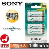 ◆加碼贈電池收納盒◆免運費◆SONY 低自放3號2000mAh 充電池x4顆(日本製造)◆NEW新品上市 ◆