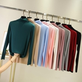 秋季新款莫代爾高領打底衫女堆堆領大碼薄款內搭長袖T恤上衣 【八折搶購】