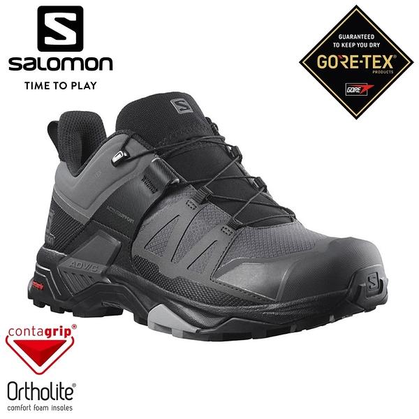 【SALOMON 法國 男 X ULTRA 4 GTX 低筒登山鞋《灰/黑/石碑灰》】412870/越野鞋/健行鞋/多功能鞋