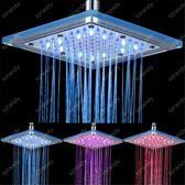 光療七彩花灑 LED七彩噴頭 發光大花灑浴室頂噴8寸溫控三色淋浴淋雨噴頭玻璃 玩趣3C