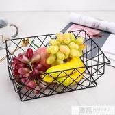 創意籃多功能水果籃幾何鐵藝時尚水果盤客廳裝飾家用零食盤果盒 韓慕精品