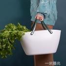 環保手提野餐籃子家用塑料大號買菜籃子ins購物籃野餐籃雜物籃 一米陽光