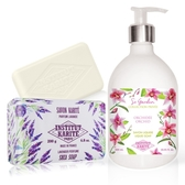 IKP巴黎乳油木 蘭花花園香氛液體皂(500ml)+薰衣草手工皂(200g)