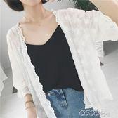 外套空調衫薄款外套七分袖網紗罩衫防曬衣雪紡衫開衫上衣女   coco衣巷