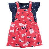 Carter's平行輸入童裝 女寶寶 蝴蝶袖包屁衣&吊帶短裙 二件式套裝 紅花朵【CA121I157】