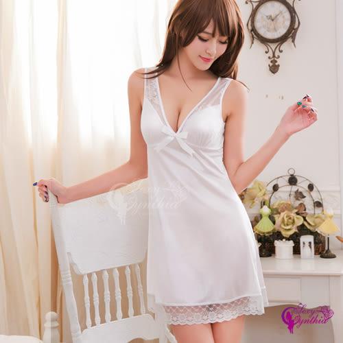 【性感寶盒】★性感睡衣  白色戀曲性感深V柔緞睡衣★白┌NA16020033