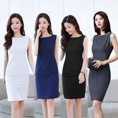 新款裙子氣質OL女裝背心打底裙修身顯瘦職業無袖連衣裙 QQ3802『樂愛居家館』