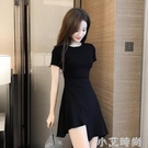 赫本風洋裝女夏2021新款收腰顯瘦不規則小黑裙時尚氣質A字短裙 小艾新品