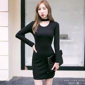 洋裝 掛脖連身裙黑色收腰短裙長袖縷空性感包臀裙