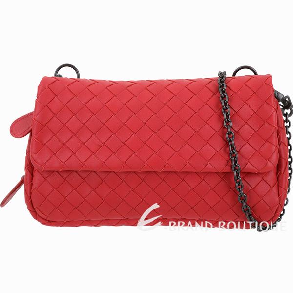 BOTTEGA VENETA NAPPA 小羊皮編織迷你鍊帶包(紅色) 1430111-54