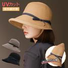 赫本風草帽 復古減齡顯小臉可折疊 日系遮陽帽 遮陽帽 防曬帽 BM5376