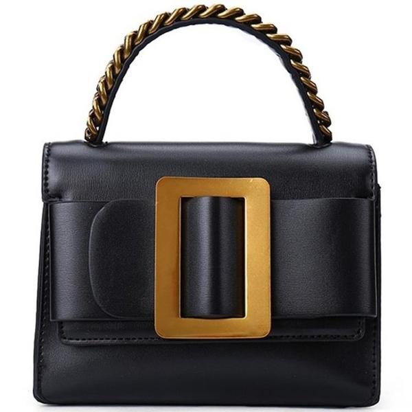 新款女包 單肩斜挎包時尚腰包金屬大方扣皮帶裝飾小方包小包