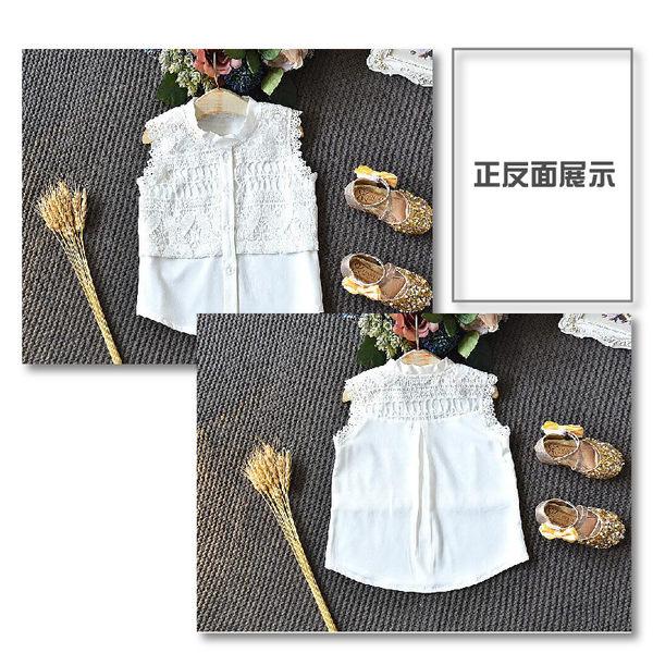 套裝 無袖蕾絲白上衣灰網紗裙套裝 女童 童裝