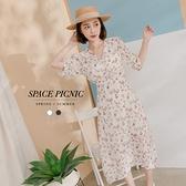 洋裝 Space Picnic|V領碎花後拉鍊雪紡洋裝(現+預)【C21052065】