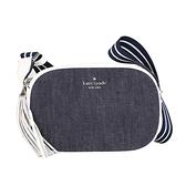 KATE SPADE 帆布拼接皮革條紋背帶小型相機斜背包(單寧白色)