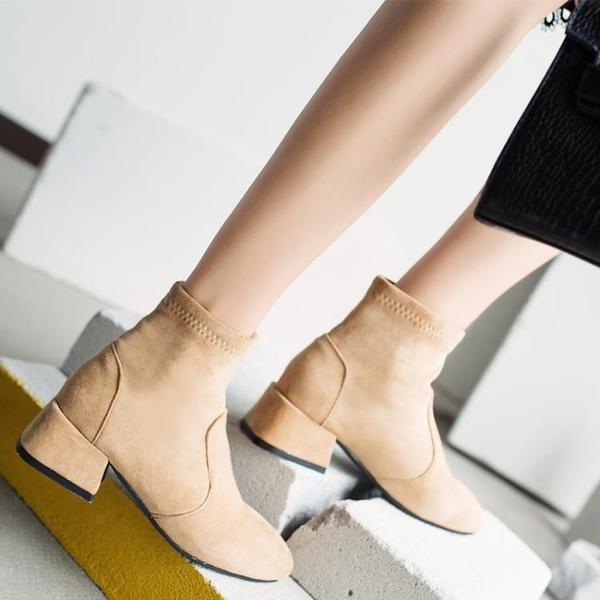 短靴女 粗跟馬丁靴 短筒高跟切爾西靴 ☸mousika