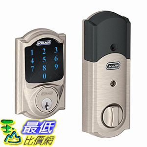 [美國直購] Schlage Connect BE469NX CAM 619 Touchscreen Deadbolt with alarm & Camelot Trim, Satin Nickel 鍵盤鎖